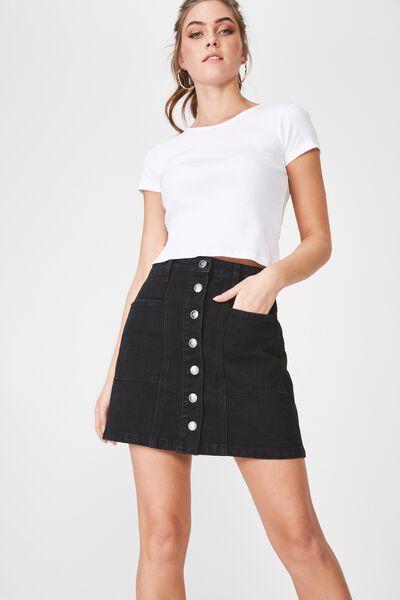 Olsen Button Through Mini Skirt, BLACK
