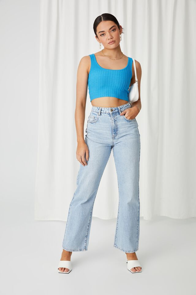 Giselle Square Neck Crop Top, AZURE BLUE