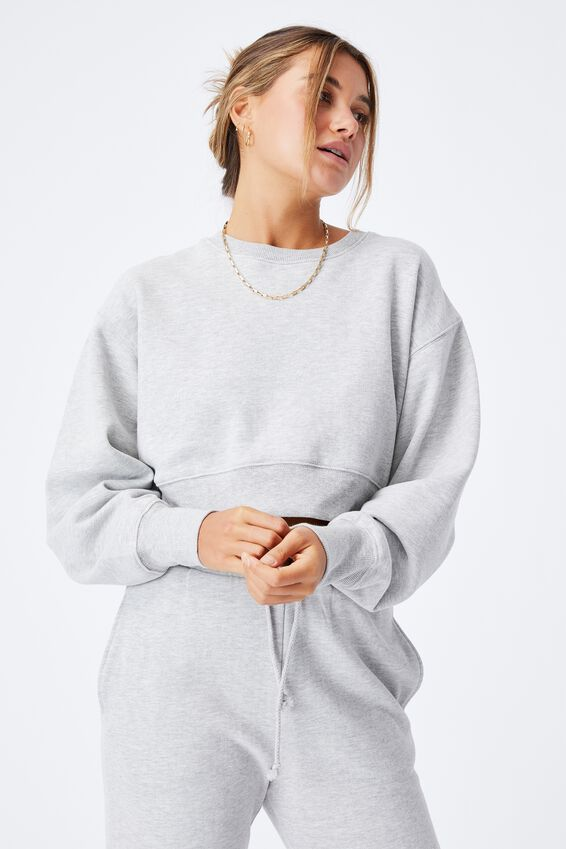 Louisa Cropped Jumper, GREY MARLE