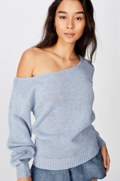 Texas Off Shoulder Knit, BLUE RIDER MARLE