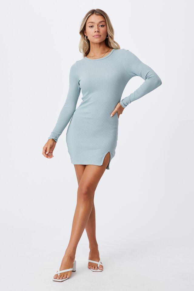 Laila Long Sleeve Mini Dress, MYSTIC GREEN