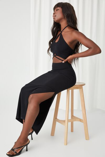 Monroe Halter Cutout Maxi Dress, BLACK