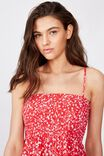 Peaches Shirred Dress, RED SPRIG