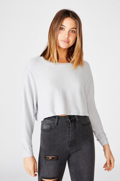 Taylor Crew Neck Long Sleeve Top, LIGHT GREY MARLE