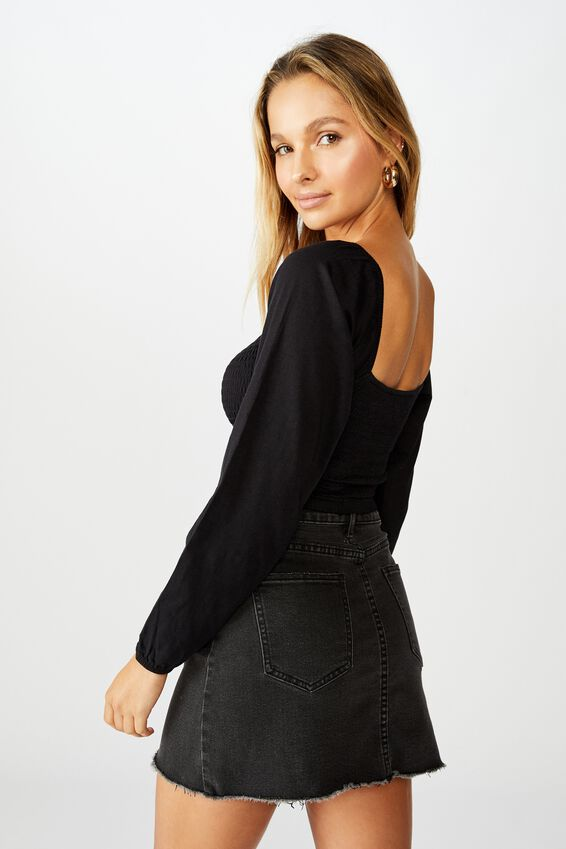 Willow Puff Sleeve Top, BLACK