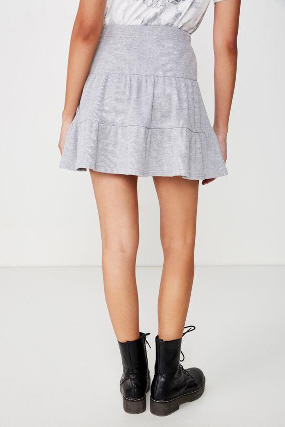 Josie Waffle Tiered Skirt, GREY MARLE