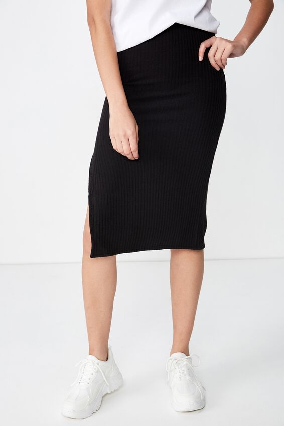 Celia Rib Skirt, BLACK