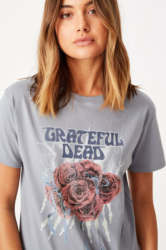 Grateful Dead Tee, BLUE GREY/LCN WMG GRATEFUL DEAD SKELETON ROSES