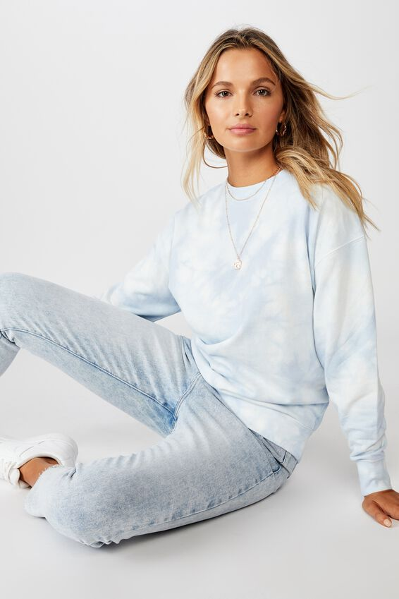 Crew Neck Jumper, FRESH PALE BLUE/WHITE TIE DYE