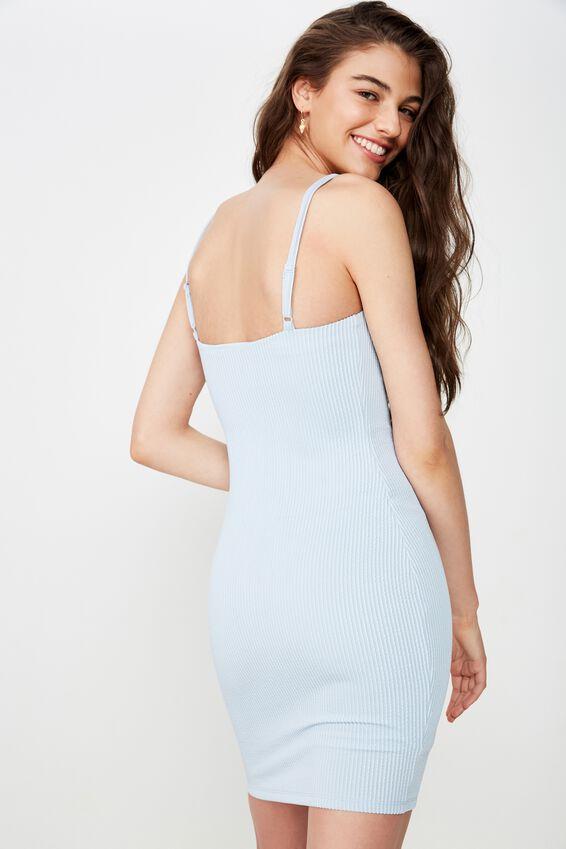 Cameron Rib Mini Dress, ICE BLUE