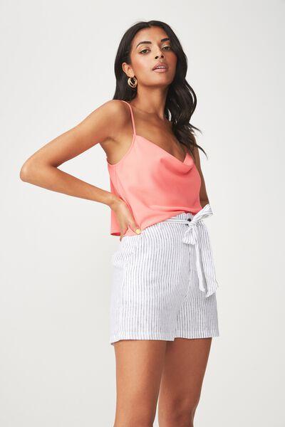 Nina Linen Blend Tie Waist Short, PINSTRIPE
