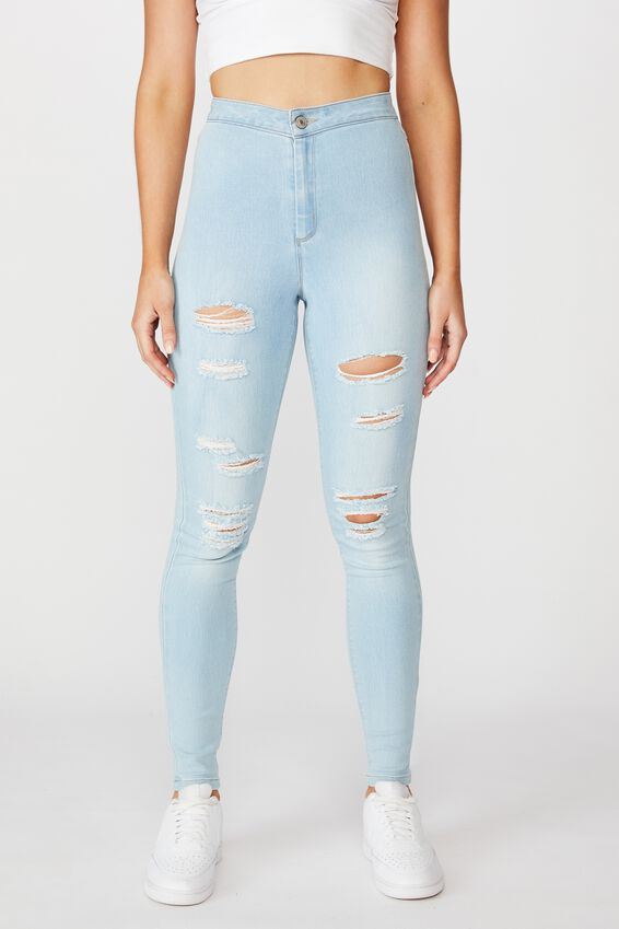 Long Leg Super Skinny Sky High Ripped Jean, BABY BLUE