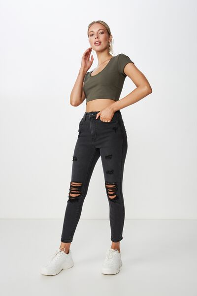 Short Skinny Premium Ripped Jean, SMOKEY BLACK