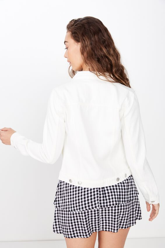 Casual Fitted Denim Jacket, WHITE