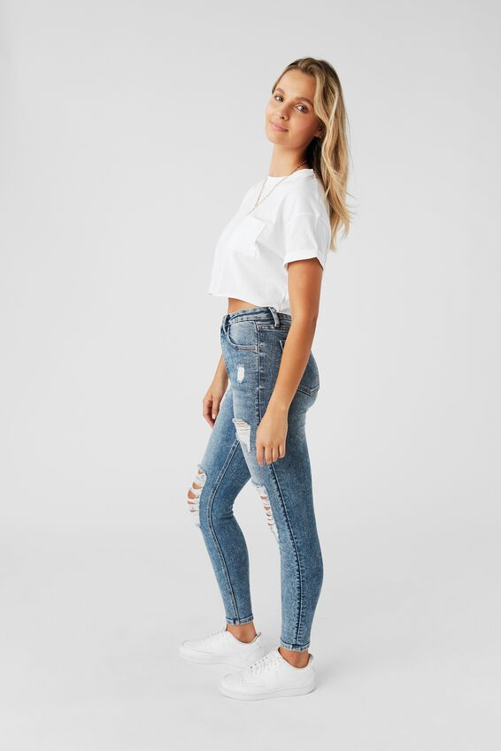 Long Leg Skinny Premium High Rise Ripped Jean, HAZE BLUE