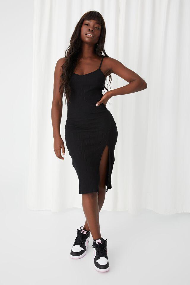 Gemma Split Midi Dress, BLACK
