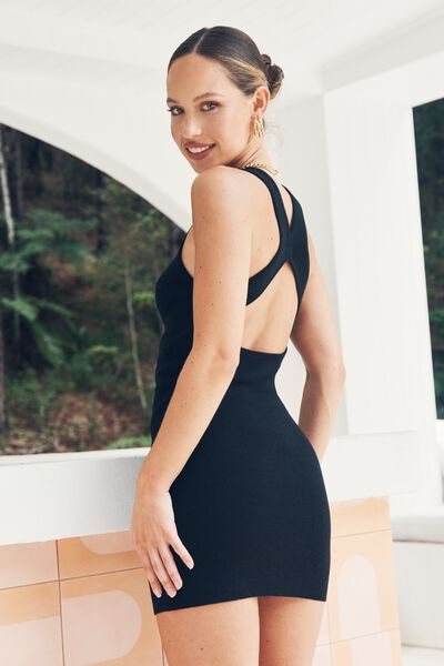 India Cutout Mini Dress, BLACK
