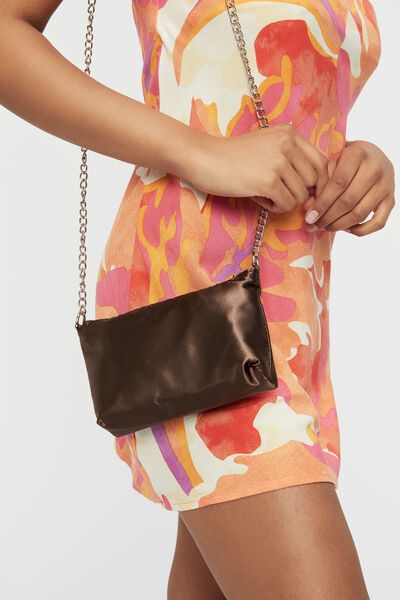 Satin Chain Strap Bag, BRUNETTE