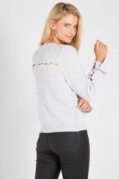 Lace Up Back Knit Top, LIGHT GREY
