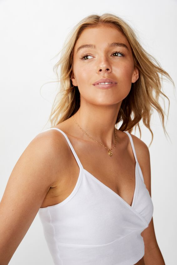 Lena Wrap Cami Crop, WHITE