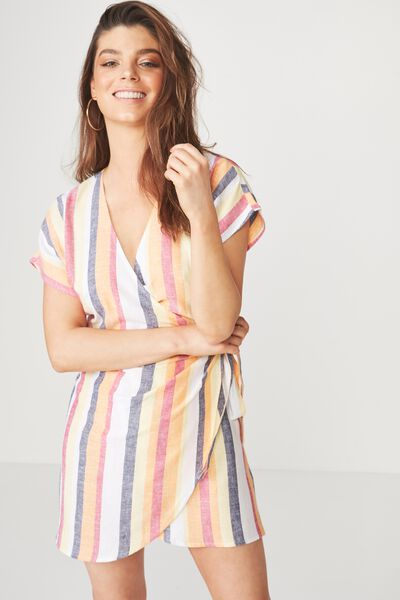 Pipa Wrap Dress, SUNRISE STRIPE