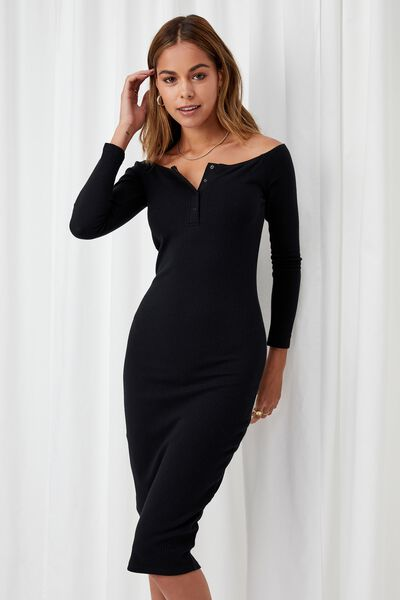 Aya Buttoned Midi Dress, BLACK