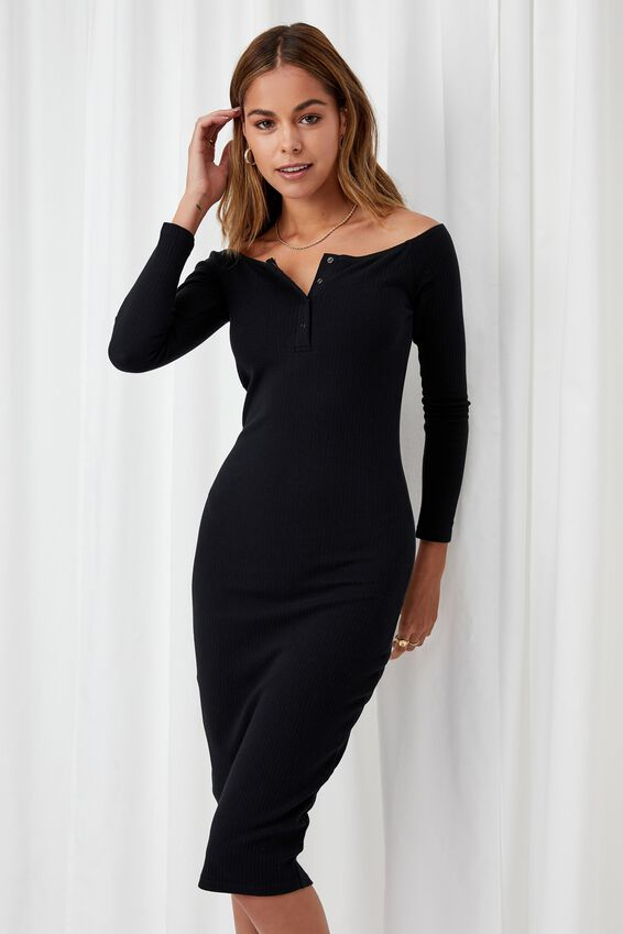 Aya Buttoned Midi Dress, BLACK