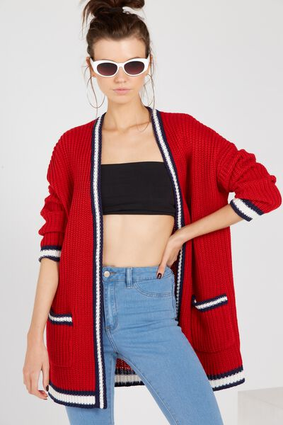 Baseball Longline Knit Cardigan, RED/STRIPE
