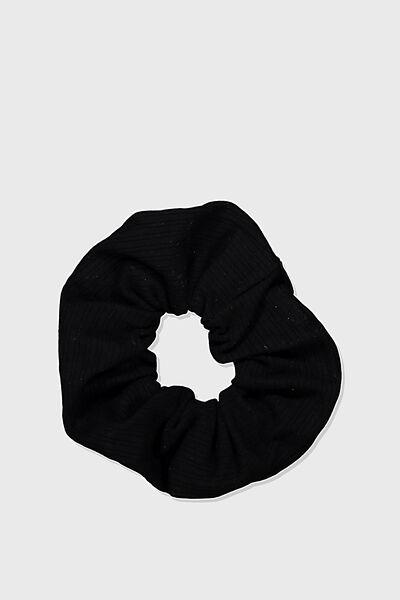 Knitted Rib Scrunchie, BLACK