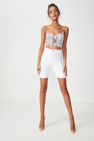 The Sky High Denim Short, WHITE