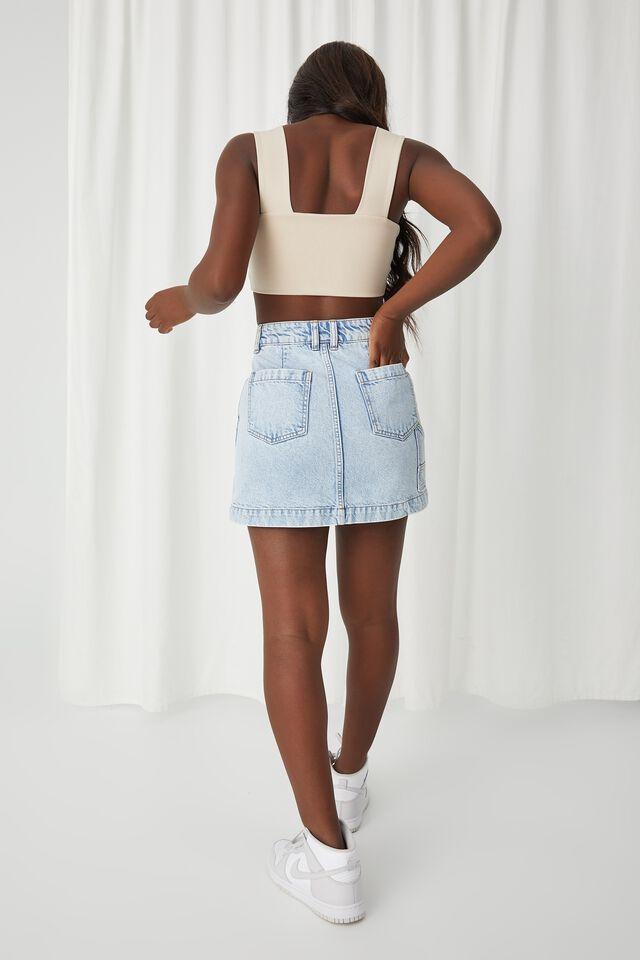 Rigid Denim Mini Skirt, LIGHT BLUE SNOWFLAKE