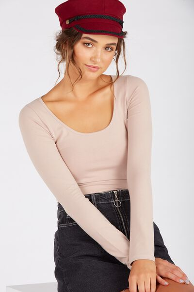 Basic Long Sleeve Scoop Neck Top, STONE