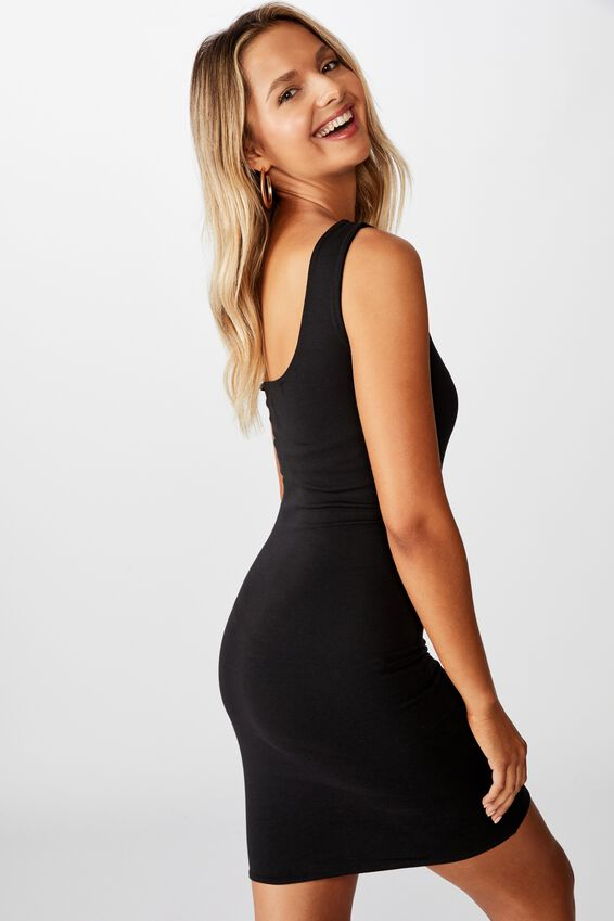 Lily One Shoulder Dress, BLACK