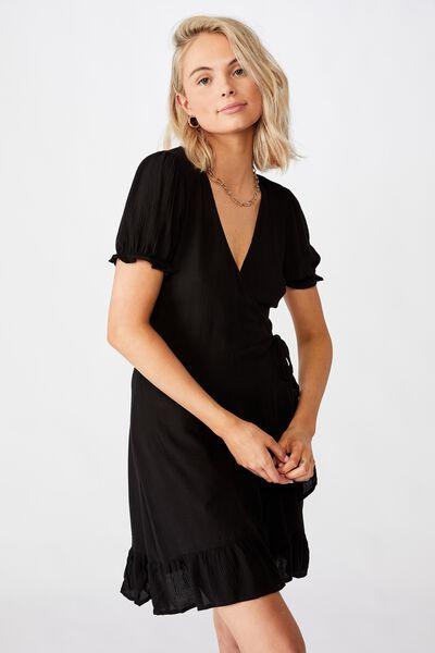 Ellie Peasant Sleeve Wrap Dress, BLACK