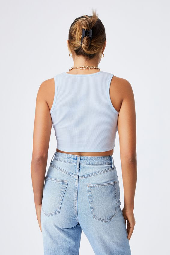 Evalyn V Neck Crop Tank, ARCTIC BLUE