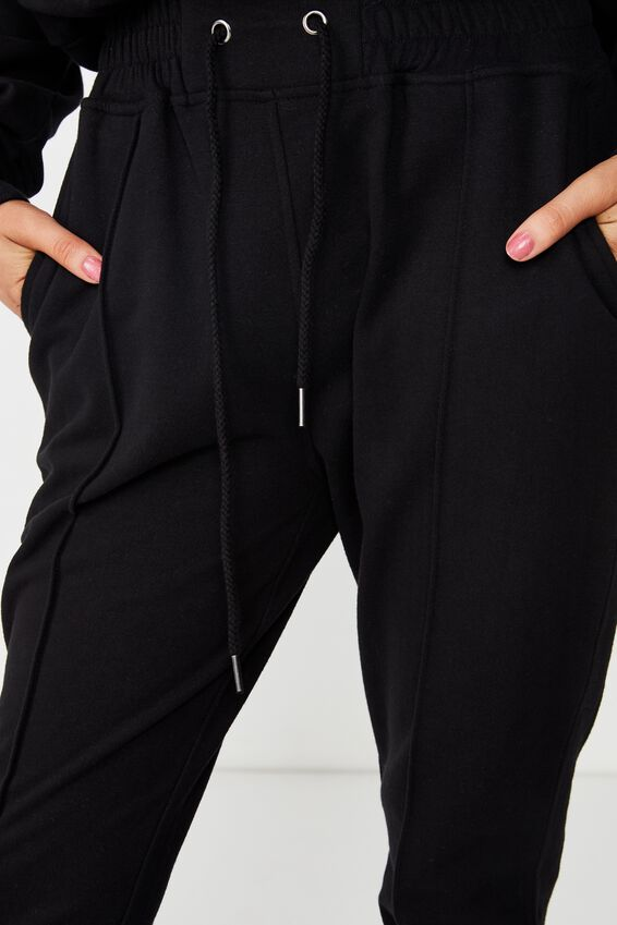 Robyn Pin Tuck Sweat Pant, BLACK