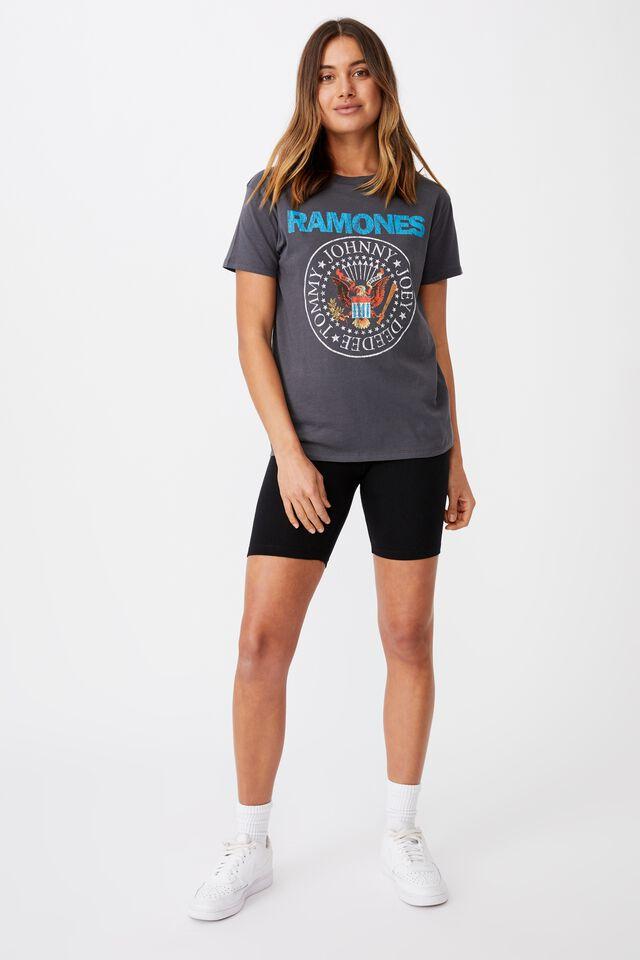 Kendall Printed T Shirt, GRANITE GREY/LCN MT RAMONES EAGLE