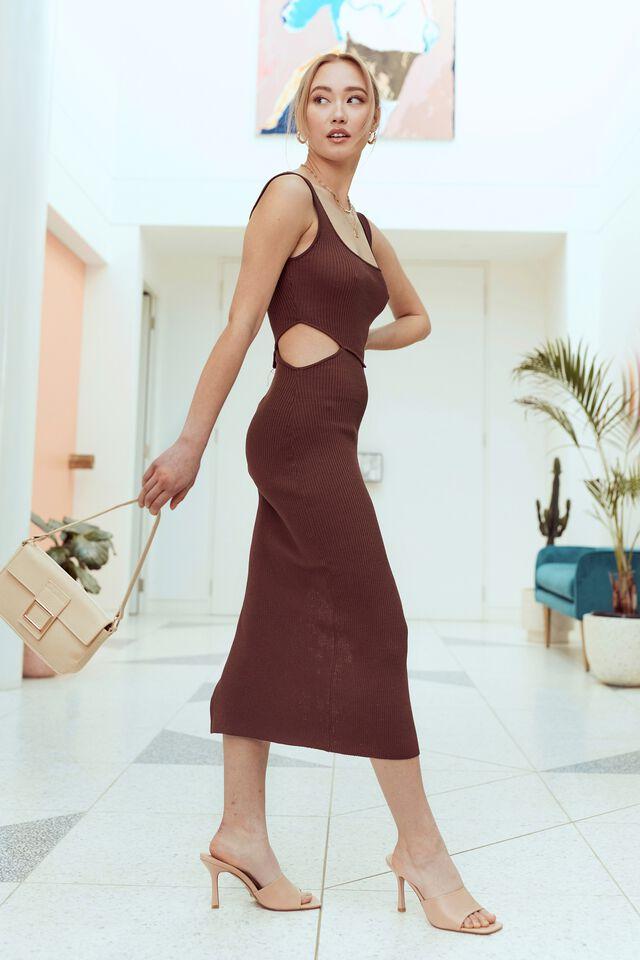 Elsa Cutout Knit Midi Dress, BROWN SUGAR