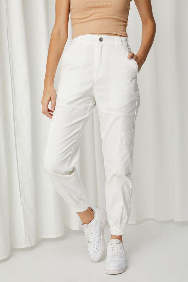 Kiki High Rise Cargo Pant, WHITE