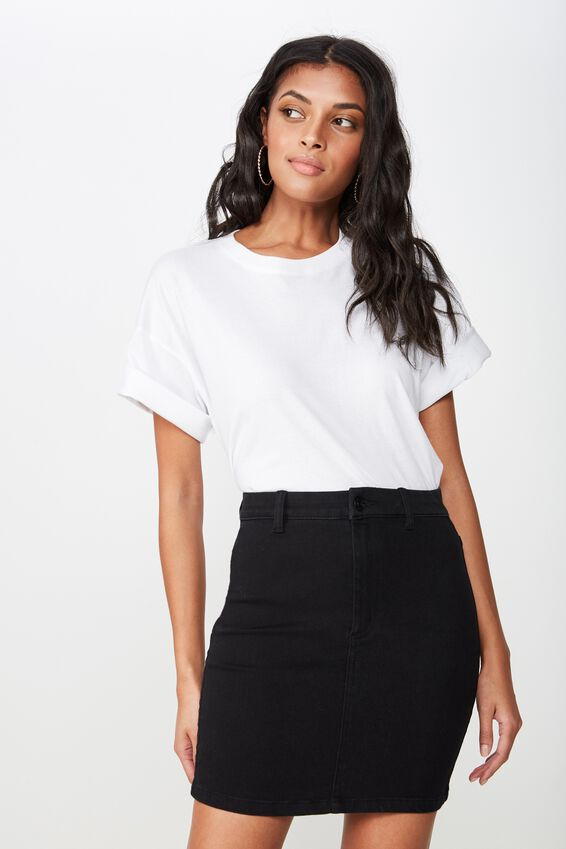 Chloe Stretch Denim Mini Skirt, BLACK