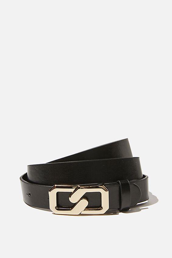 Infinity Buckle Belt, BLACK GOLD