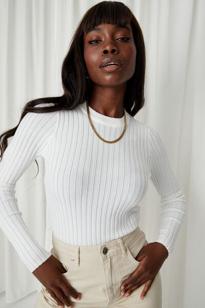 Willow Crew Neck Knit Top, WHITE