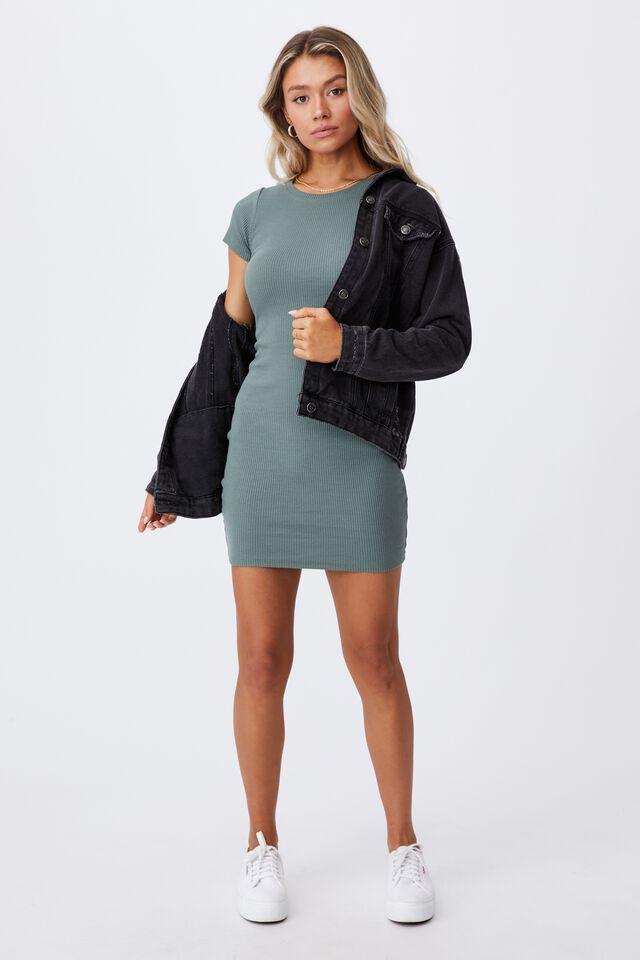 Lucia Rib Tee Mini Dress, THYME GREEN