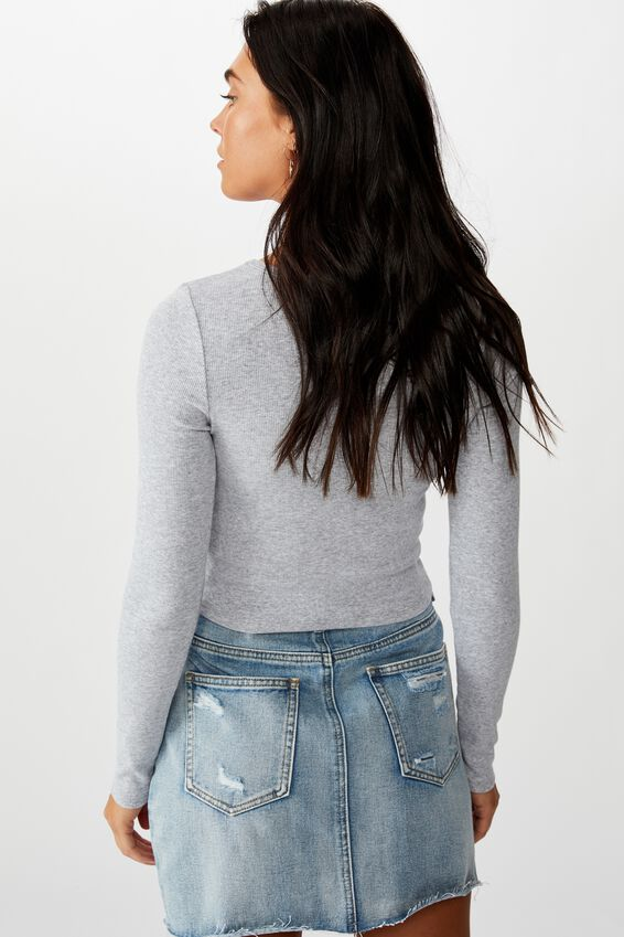 Ash Long Sleeve Rib Top, GREY MARLE
