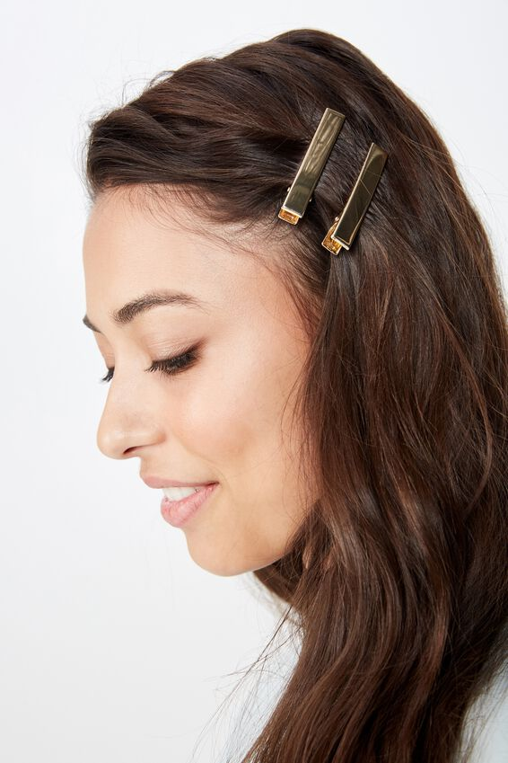 Hair Clips 2 X Pack, GOLD