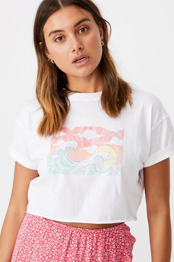 Wave Crop Tee, WHITE/WAVE SCENE