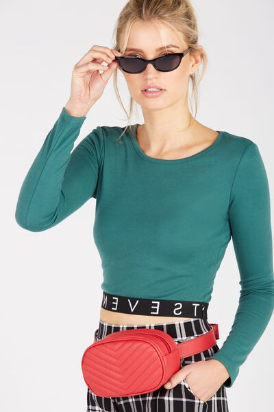 Jacquard Long Sleeve Fitted Top, KHAKI