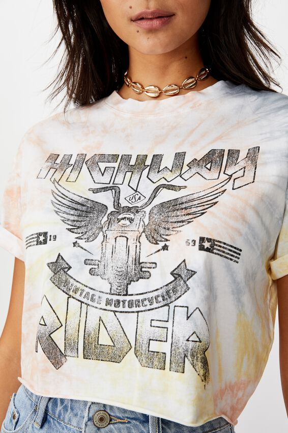 Tamara Graphic Crop Tee, SOFT TWIRL TIE DYE/HIGHWAY RIDER