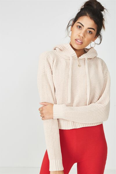 Chenille Hooded Knit Sweater, MOONLIGHT