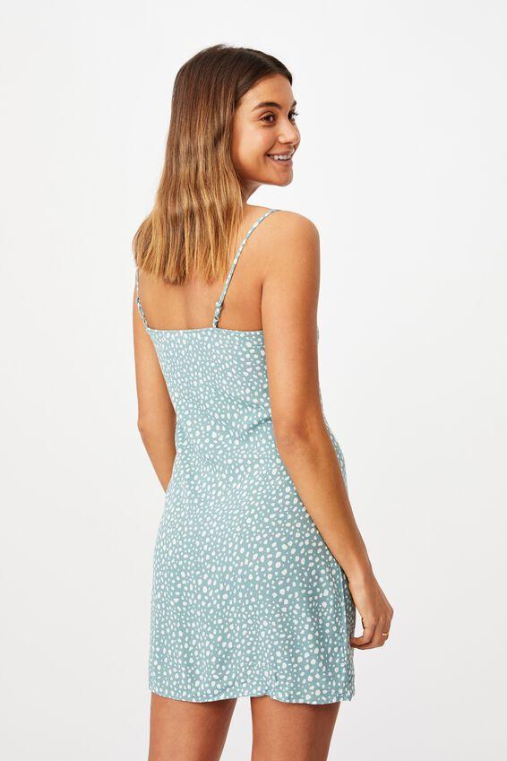 Bella Slip Dress, SPOT LEOPARD SAGE WHITE